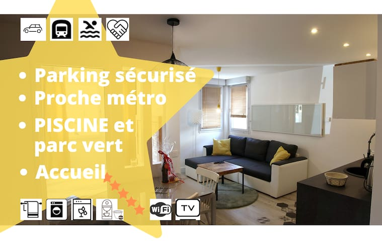 30m2 Rangueil/Demoiselles, 2+2 pl, parking, métro