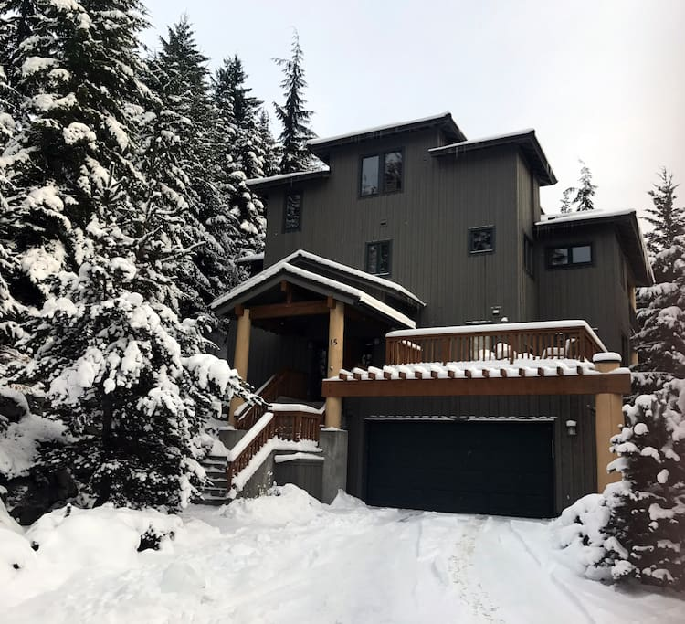 The front view of our home-winter