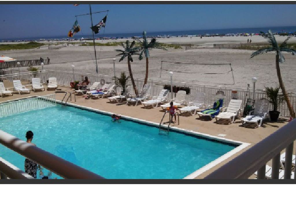 Only thing between you and beach is Pool