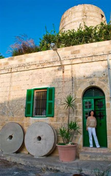 original mill stones and front door