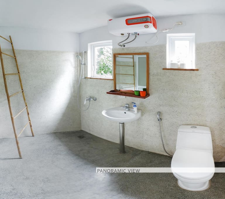 A panoramic view of the bathroom
