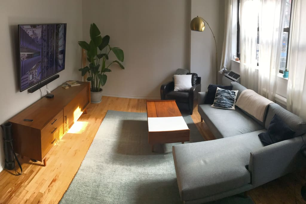 Newly remodeled with high end Mid Century wood and marble furniture.