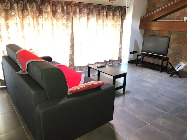 Zona divano con televisione