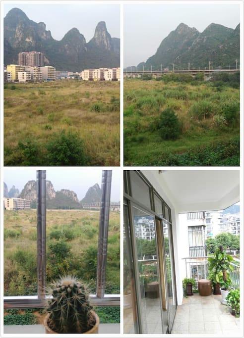 超大阳台,主卧,家庭房配备的落地玻璃窗,远处山,草地,视野宽阔,空气清新!