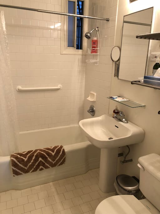 Full bath with shower and tub. Hairdryer supplied.