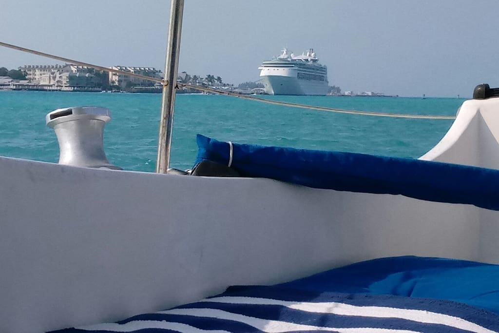 Your million dollar view from the stern of Amba of Key West harbor and the port, Awesome!