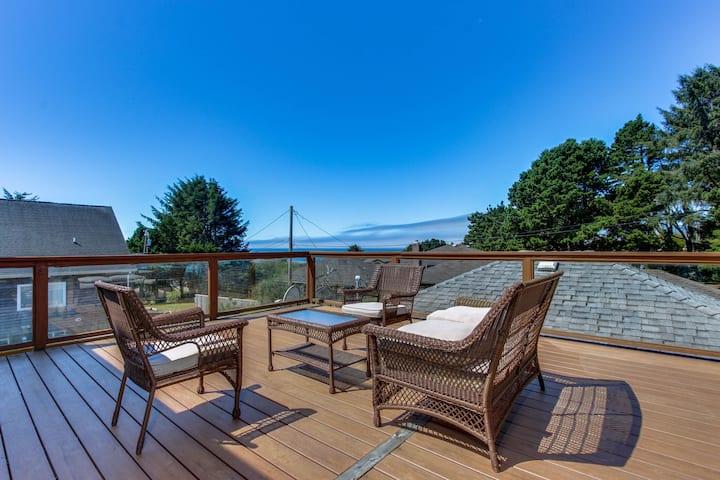 Spacious home w/decks, ocean views and fenced yard - walk to the beach