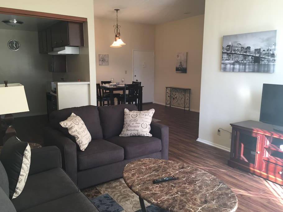 Living Room, Queen size sleeper sofa & Love seat. Cable, Smart TV, wifi. Deck Chairs with side tables and pockets for use on the front deck.