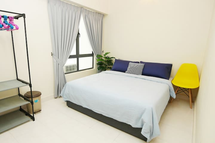 Nordic Bedroom 2 with hotel grade spring mattress and natural cotton (like t-shirts) bed linens, cloth hanger. Full block-out curtain for undisturbed sleep.