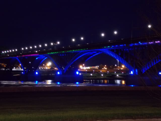 Peace Bridge changing colours at night.  The force of the water going through the bridge is great to watch.