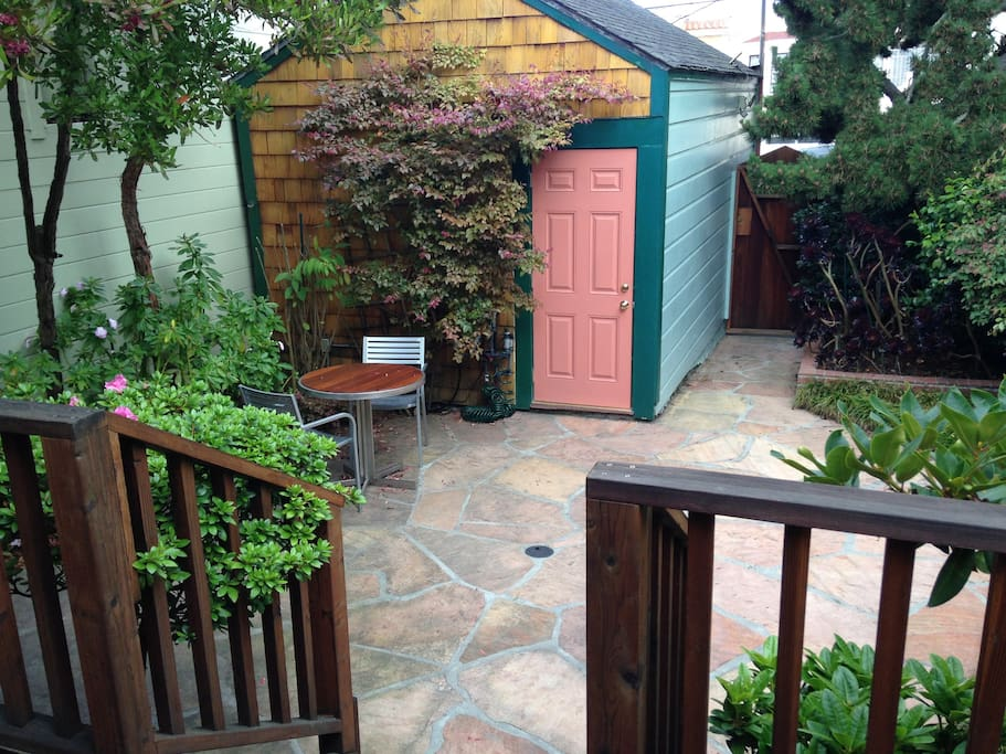 private front patio and garage