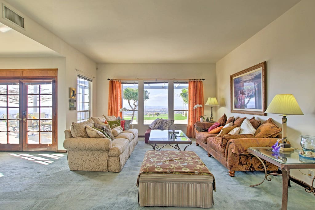 The mother-in-law suite sleeps 4 guests in an elegant living space.