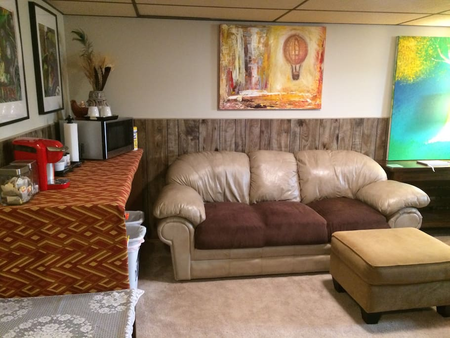 Couch, coffee bar