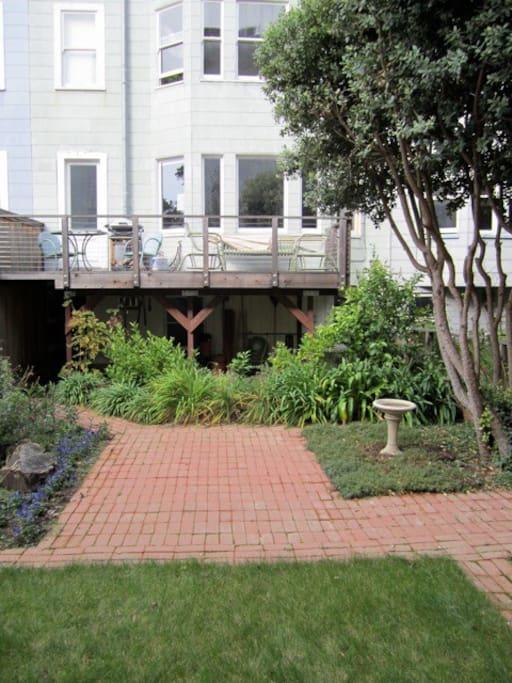 Private deck overlooking garden