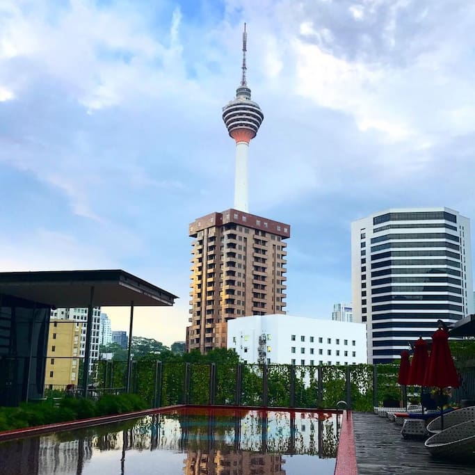 Gorgeous swimming pool with a beautiful view of KL Tower