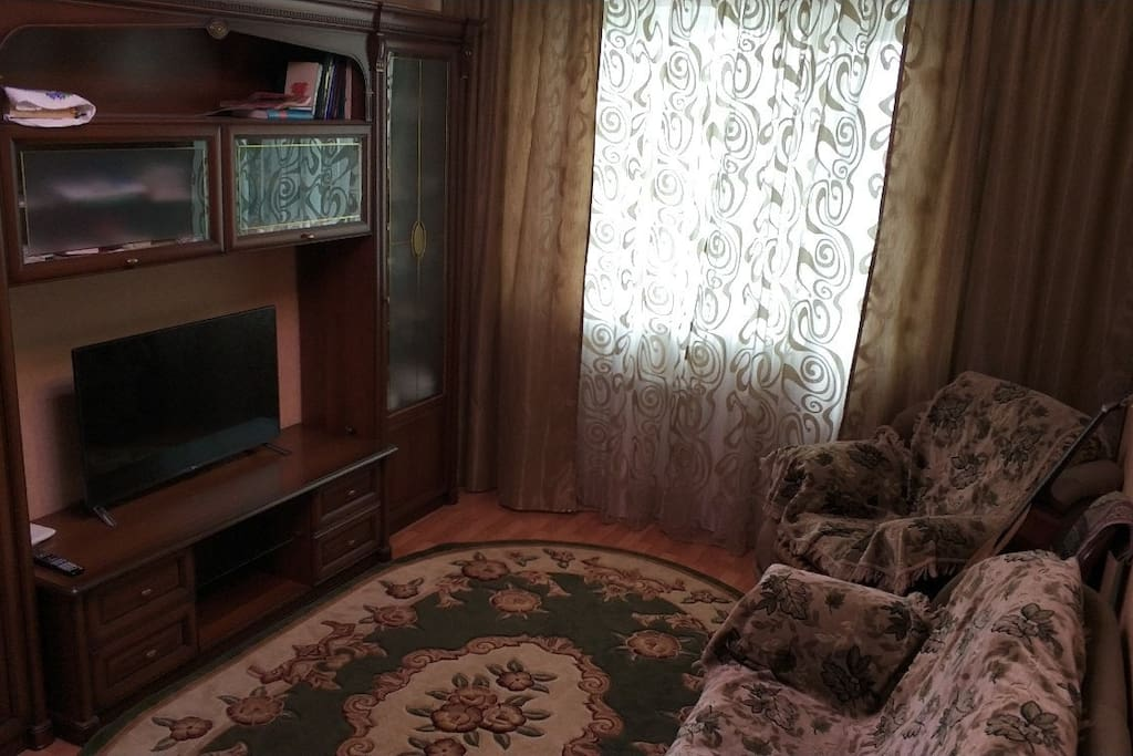 the living room with TV (HDMI, USB connections, Smart TV, 3D, cable TV). a sofa could be transformed into double bed
