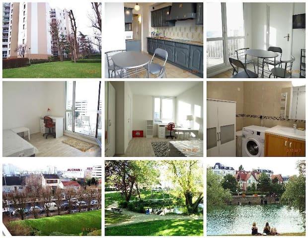 10 分钟到巴黎市区-花园小区新装公寓4房共80m2