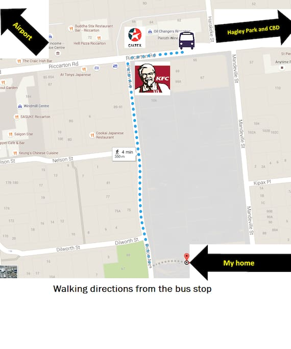 Walking directions from the bus stop
