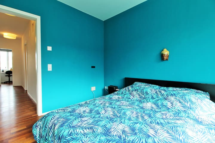 The 3rd bedroom on the ground floor has a cozy double bed that is also prepared with fresh lining and  sheets.
