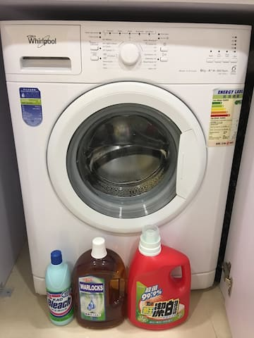 New Whirlpool Washing & Drying Machine, with Laundry detergent and Bleach. 全新惠而浦欧式洗衣干衣机,并提供洗衣液、消毒药水及漂白水