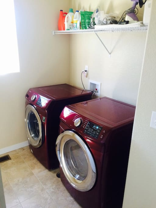 Washer and dryer are located on the second story at the back of the hall to your right.