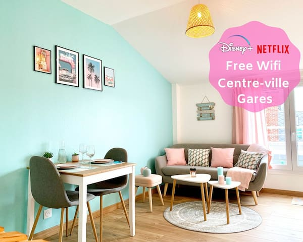 ★  Appartement Hypercentre ★ Gares ★ Netflix/Disney+ ★ Wifi ★ Balcon