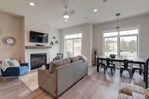 Open floor plan with programmable gas fireplace
