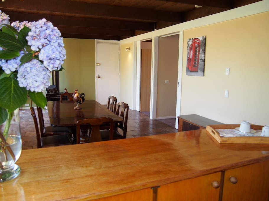 Cosy bright kitchen dining area with amazing views of Hanging Rock