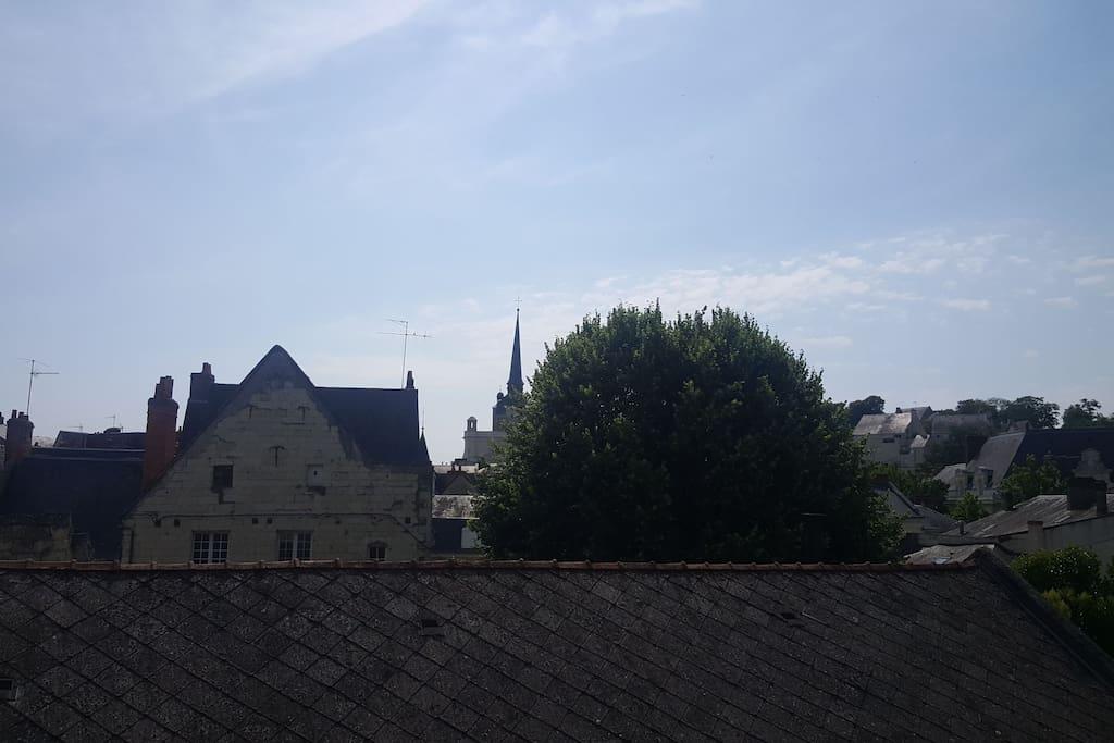 Vue dégagée sur la vielle ville et le clocher de l'Eglise Saint-Pierre