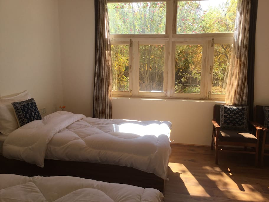 Single beds- room for two, which can be joined on demand