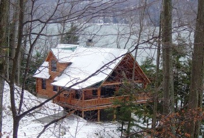 Luxury lakeside Log Cabin in forest - Skaneateles - Casa