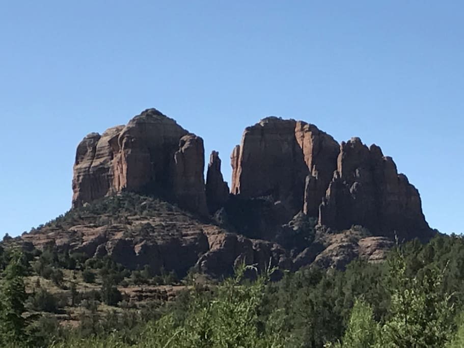 Blue sky, day time photo of the world famous Cathedral Rock of Sedona Arizona USA
