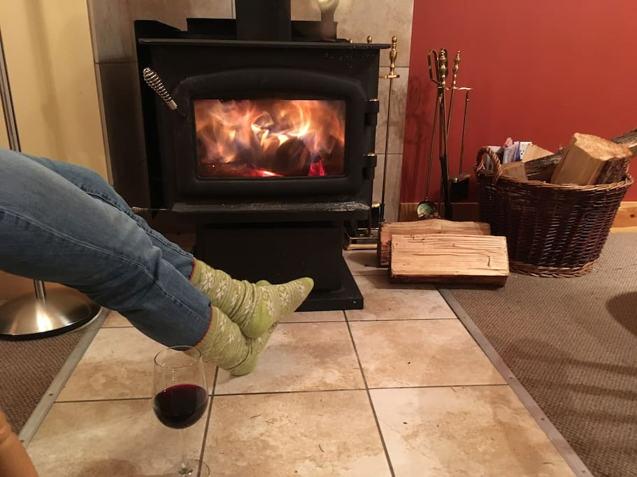Relax by the woodburning stove