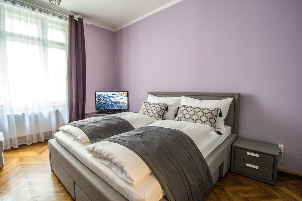 2nd bedroom with a huge comfy bed and a huge wadrobe