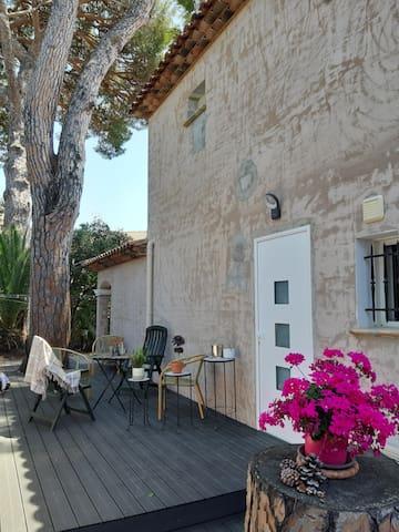 Terrasse extérieur passage pour accéder au studio.