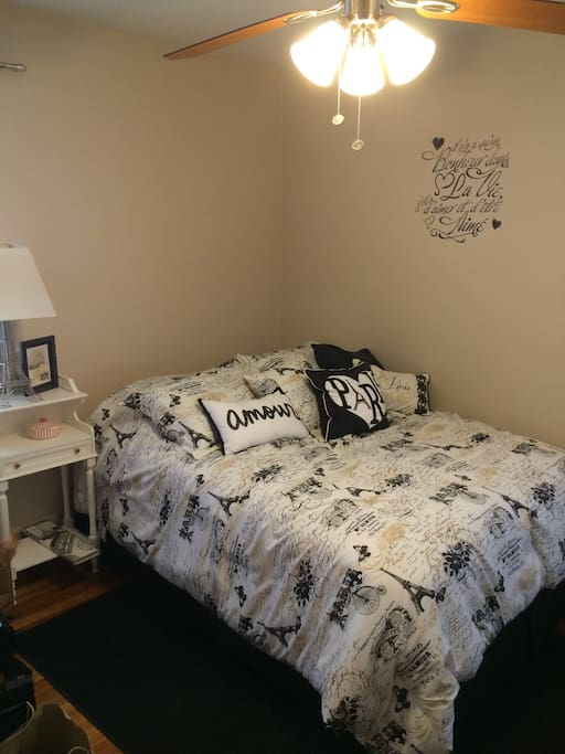 Paris themed spare bedroom