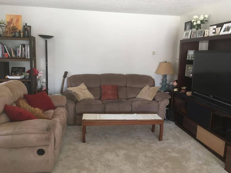 "Living Room - Contains 50"" 1080p HDTV Connected to Bluray DVD player with Netflix and Amazon Prime Video, 4 seats on the two comfortable couches recline, entertainment center also contains board games and baby toys"
