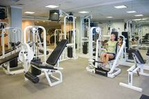 Our fitness center and health club features a variety of machines including  ellipticals, bikes, and a universal fitstep.  Plus we have an extensive assortment of strengthening and weight training equipment   Also there is a his and her's dry sauna.