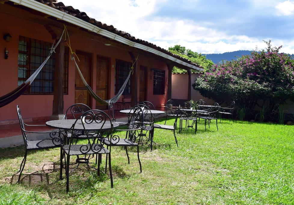 Upper garden with breakfast terrace with awesome Copan Valley view!