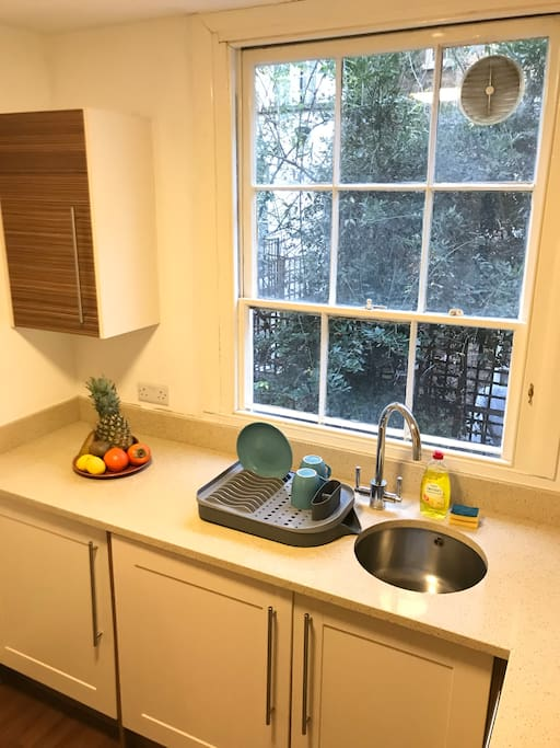 Our kitchen is fully kitted out, including a washer/dryer and a dishwasher!!