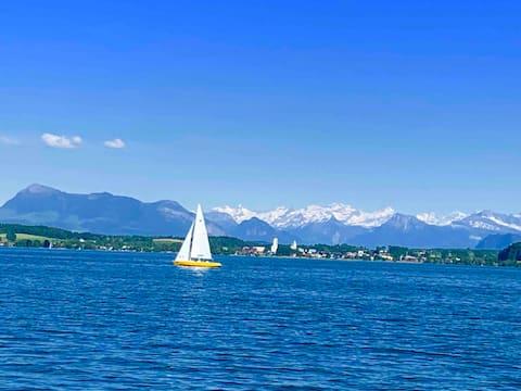 Lomakoti järvinäköala/Lake Sempach/lähellä Lucernea