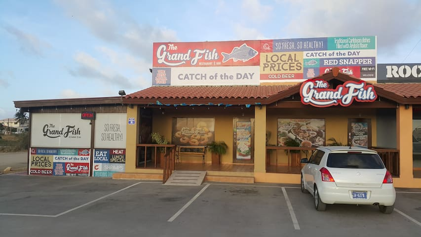 the Grand Fish. Best local Seafood, only a 2 minute walk