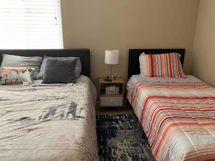"""Downstairs full and twin bed private 43"""" TV"""