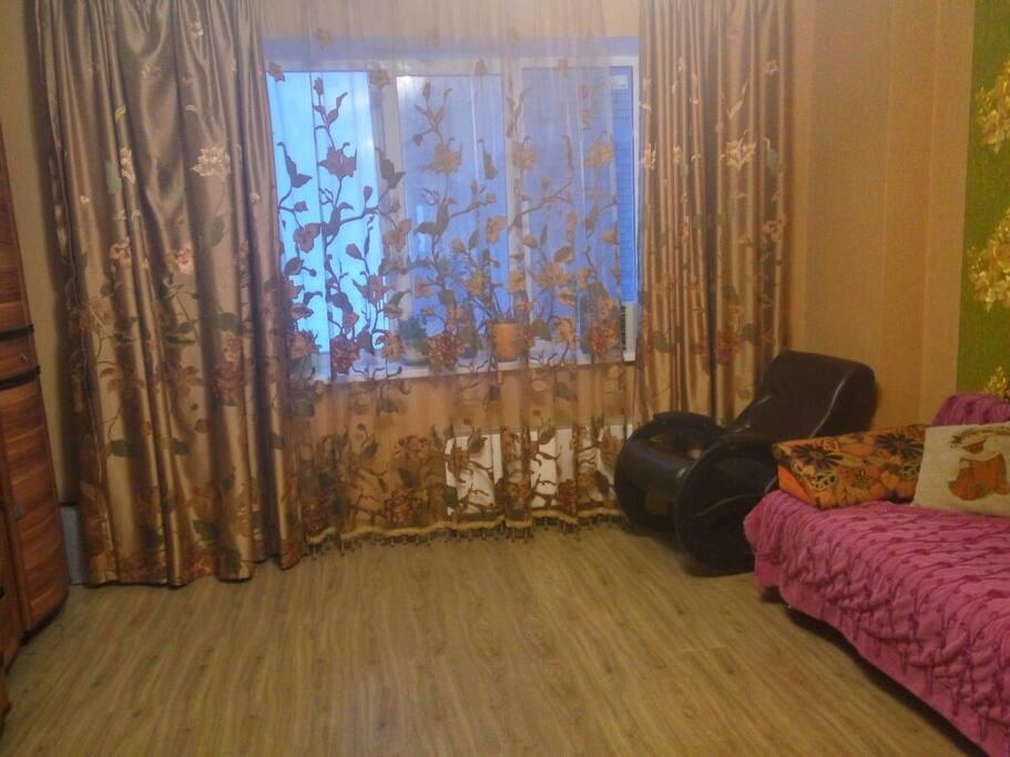 Гостиная. Двуспальный раскладной диван. Вид на Волгу и огни Борского моста