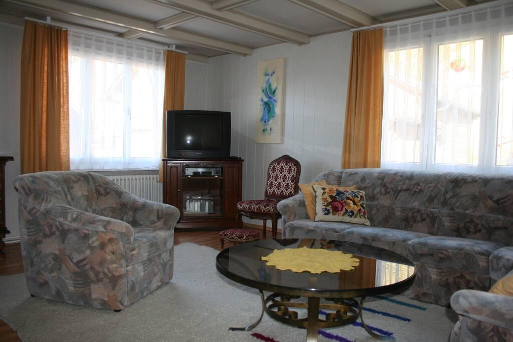 Wohnzimmer - Sitzgruppe mit TV
