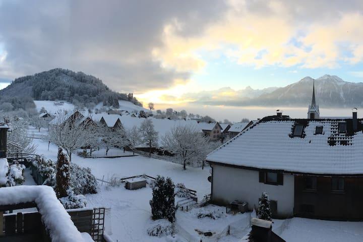 Dachgeschosswohnung mit Bergpanorama in Schnifis