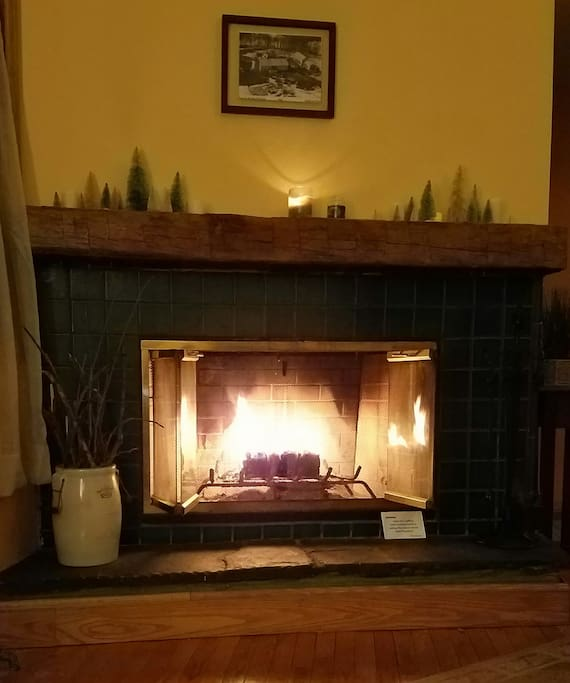 Cozy by the fire in the living room.