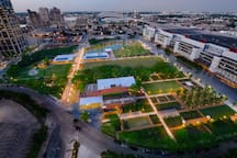 An aerial view of Discovery Green Park in central downtown Houston!