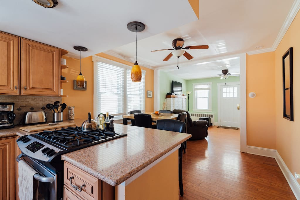 Feel free to cook yourself a meal in completely renovated kitchen with new stainless steel appliances. Toaster, micro, blender, juicer all available for use.