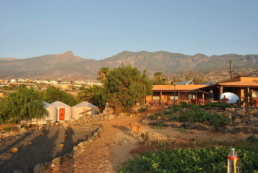 Vista de las yurtas y la montaña